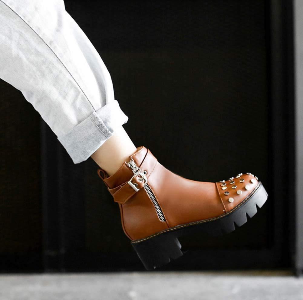 Frauen Rivet Martin Stiefel 2018 Herbst College Style Neue Schnalle Große Plattform Stiefel Große Schnalle Größe 6b440f
