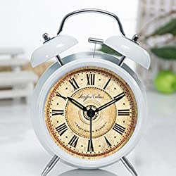 LOHOME (TM) 4-inch Retro Creative Double Bell Bedside Silent Non-ticking Alarm Clock with Nightlight and Loud Alarm (White)