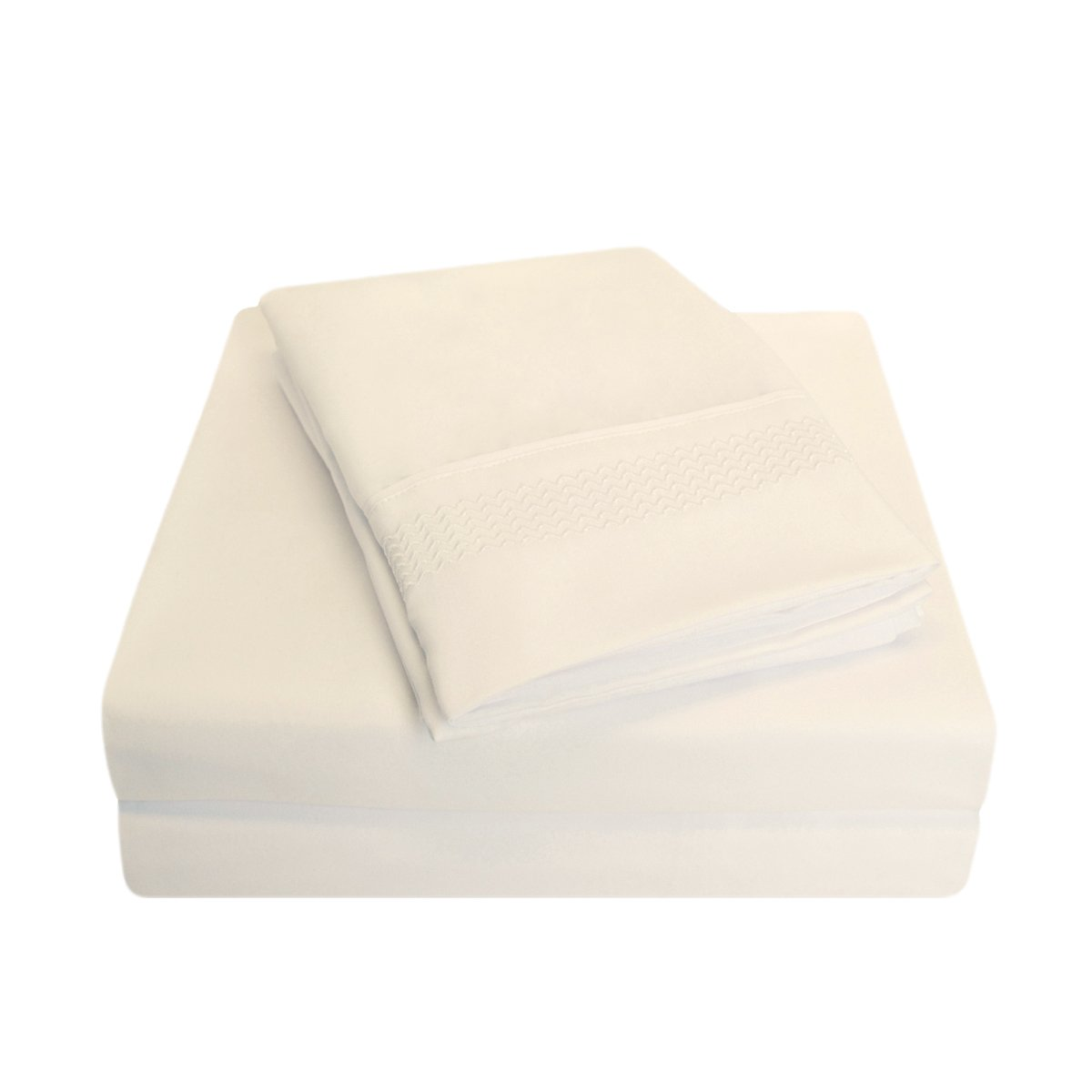 Wrinkle Resistant White 4-Piece Sheet Set with Light Blue Peaks Embroidery in Gift Box Super Soft Light Weight 100/% Brushed Microfiber Full