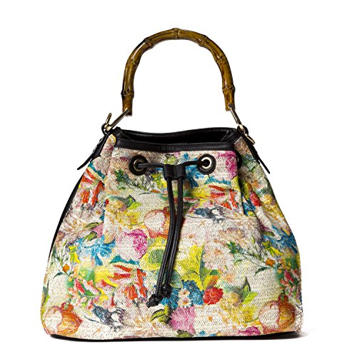 Handbag Republic Womens Designer Vegan Leather Top Handle Purse Crossbody Drawstring Bag Flower (Jean Purse Pattern)