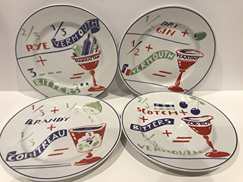 Set of 4 Rosanna Cocktail Recipe Dessert Appetizer Plates