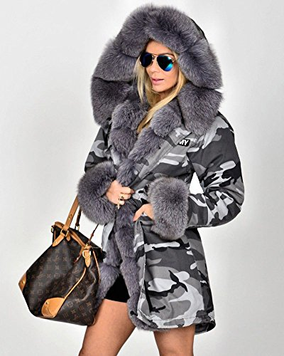 Fur Grau Faux 8 Winter 7001 Size Jacket Hood Roiii Coat Lining Parka Warm 14 20 Camouflage Trench Women UtUWwqTI