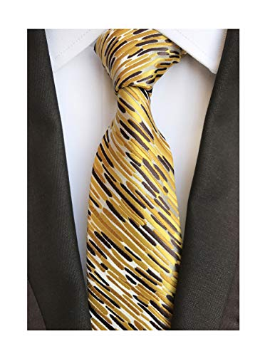 Secdtie Men's Classic Stripe Jacquard Woven Silk Tie Formal Party Suit Necktie (One Size, Gold Brown)