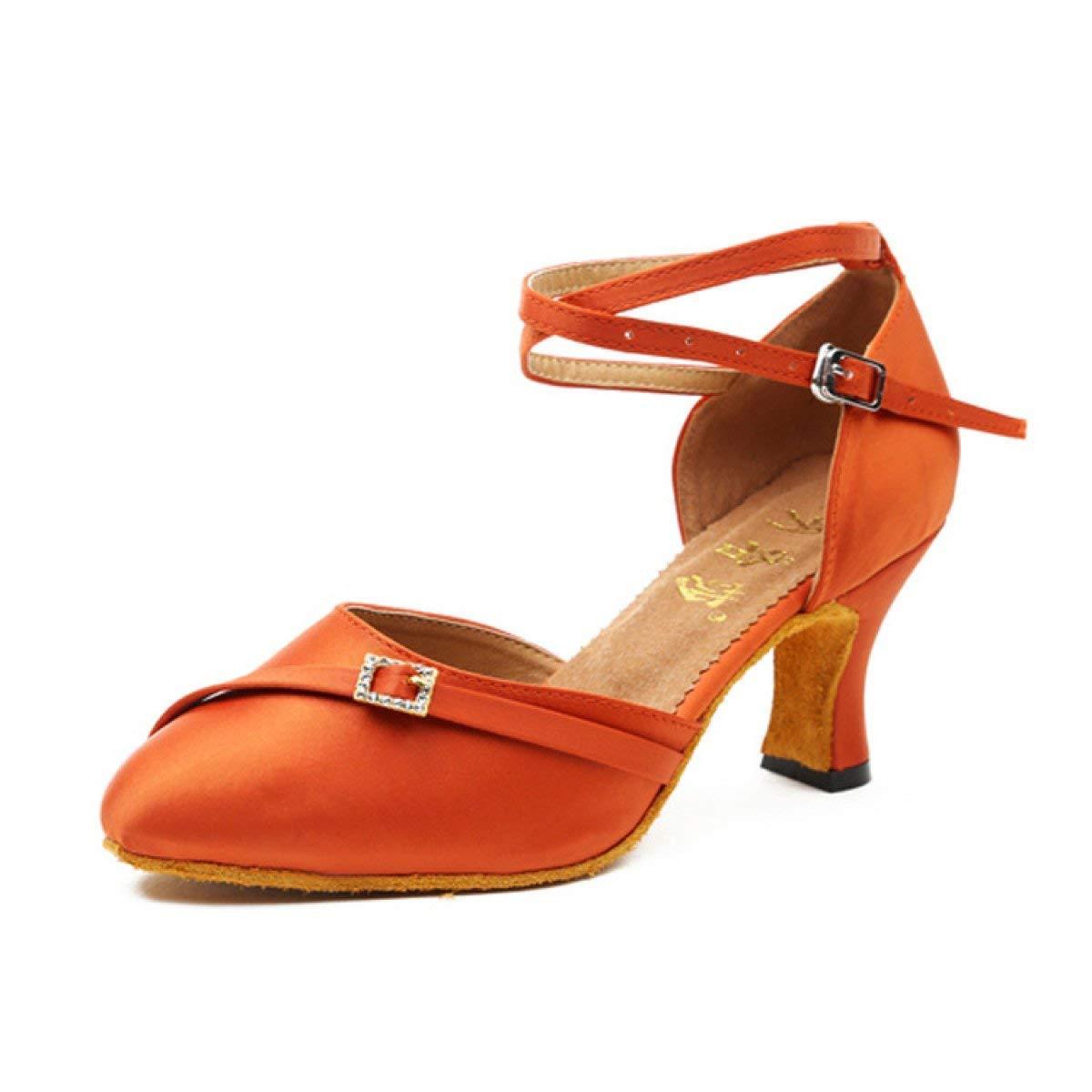Willsego damen Latin Dance Closed Toe Hoher AbsatzSalsa Tango Chacha Samba Modern Jazz Schuhe Sandalen Orangeheeled6cm-UK4.5   EU36   Our37 (Farbe   Orangeheeled5cm Größe   UK3 EU33 Our34)