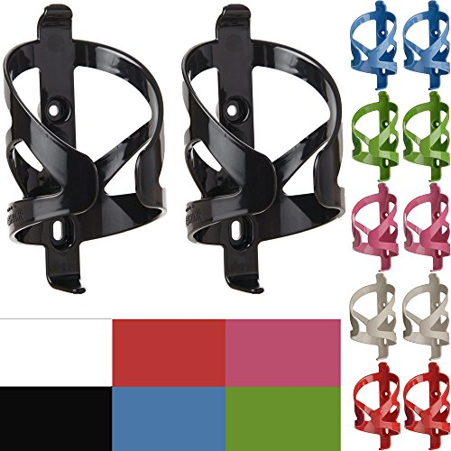 50 Strong Bike Water Bottle Holder 2 Pack - Made in USA - Easy to Install - Durable Bicycle Cage - Black ()