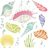Shells Stencil - 4.5 x 4.5 inch (S) - Reusable Sea Ocean Nautical Seashore Reef Wall Stencil Template - Use on Paper Projects Scrapbook Bullet Journal Walls Floors Fabric Furniture Glass Wood etc.