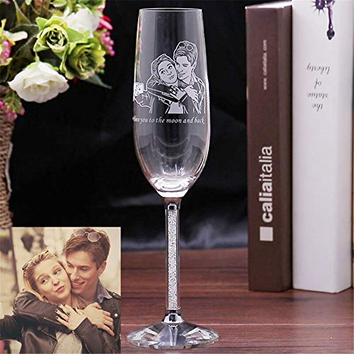 Personalized Wedding Toast Champagne Flute, Wedding Toasting Glasses - Etched Flutes for Bride & Groom Customized Wedding Gift