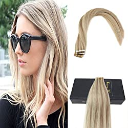 Sunny 24inches Tape in Human Hair Extensions #18/613 Caramel Blonde Mixed Bleach Blonde Highlight Human Hair Tape in Extensions 20pc/50g Weight