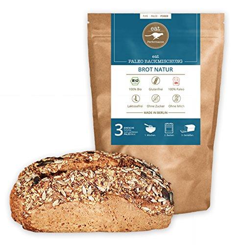 Paleo Brotbackmischung mit Chia (250g) von eat Performance (Bio, Superfood, Brot ohne Zucker und Getreide, glutenfrei, laktosefrei, low carb, eiweißbrot)