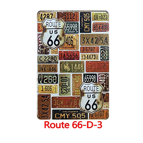 Novelty Funny Sign Historic Old Route 66 American Dream Vintage Metal Tin Sign Wall Sign Plaque Poster for Home Bathroom and Cafe Bar Pub, Wall Decor Car Vehicle License Plate Souvenir