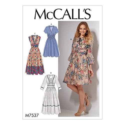 (McCall Patterns M7537A50 Banded, Gathered-Waist Dresses Sewing Pattern)