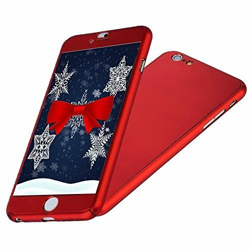 (iPhone 6/6S Case, IPAKY All-Round Protective Slim Case Cover with Tempered Glass Screen Protector Skin for Apple iPhone 6/6S 4.7 Inch (Red))