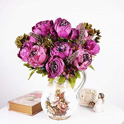 (Artificial Peony Silk Flowers Bride Bridesmaid Bouquet Wedding Home Decorations |Color - Purple|)
