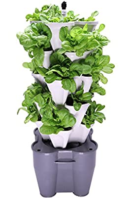 Smart Farm - Automatic Self Watering Garden - Grow Fresh Healthy Food Virtually Anywhere Year Round - Soil or Hydroponic Vertical Tower Gardening System By Mr Stacky