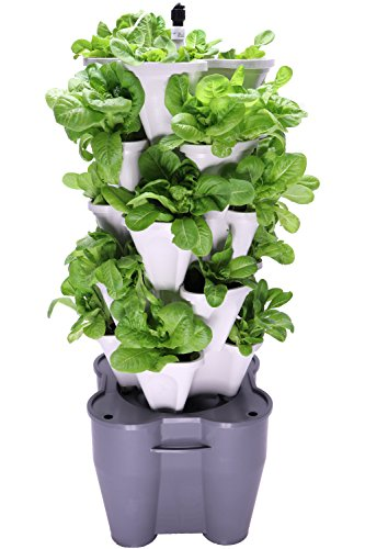 Mr Stacky Smart Farm Automatic Self Watering Garden Grow Fresh Healthy Food Virtually Anywhere Year Round Soil Or Hydroponic Vertical Tower Gardening System Standard Kit Stone