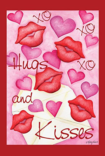 Toland Home Garden Hugs and Kisses 12.5 x 18 Inch Decorative Valentine Heart Kiss XOXO Garden (Lip Pastel)