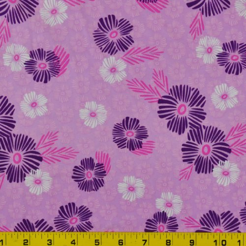 Printed Swimwear Fabric (Floral Stamp Purple Print - 58-60