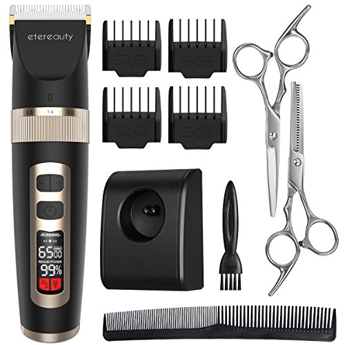 Hair Trimmer for Men, ETEREAUTY Cordless Hair Clippers Grooming Kit with Titanium Ceramic Blade, LED Display, 3 Adjustable (Machine Blade)
