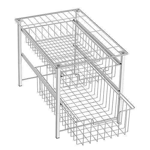 NEX 2 Tier Sliding Basket Cabinet Organizer Stackable Chrome