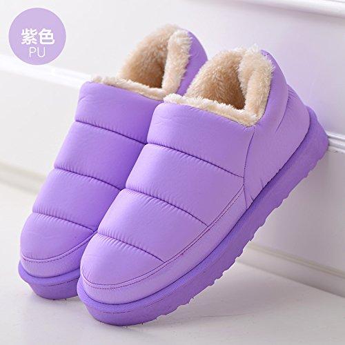 Piume fankou invernale impermeabile Cartoon carino il cotone pantofole pacchetto al coperto a caldo con fondo spesso giovane maschio e femmina home pantofole, 39-40 adatto per 38-39, ho