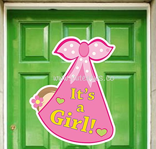 Cute News It's a Girl New Baby Door Sign - Welcome Baby Announcement Hanger - Baby Shower Party Decorations - Pink Stork Bundle Greeting Banner (Sign Door Girl)