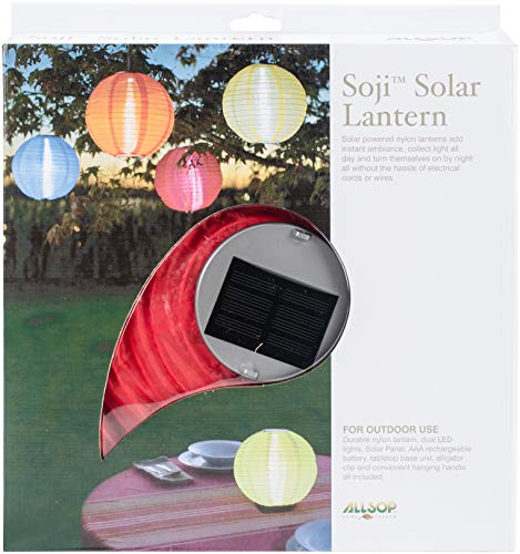 Allsop 29495 Soji Original Round Nylon Solar Lantern, 10 Red