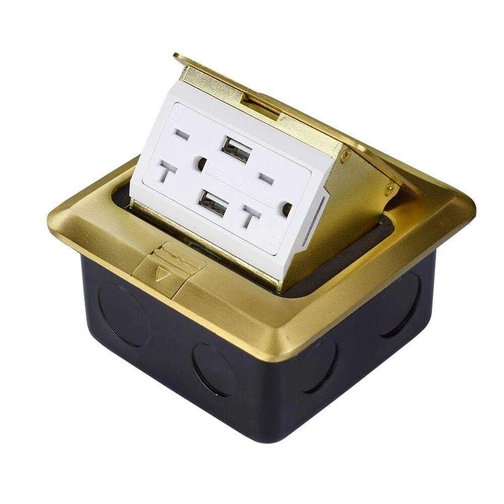 Groto Pop Up Floor Outlet Covers box, Pop-Up Power Box Kit w/20A Duplex Receptacle and 2 USB Charging Ports, Watertight Gasket, Corrosive Resistant Hardware, Brass