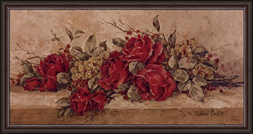 Roses To Remember by Barbara Mock Framed Art Print Wall Picture, Dark Cherry Frame with Hanging Cleat, 34 x 18 inches Barbara Mock Roses