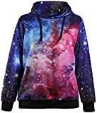 Imilan Women Sports Neon Galaxy Pullover Fleece Hoodie Sweatshirts