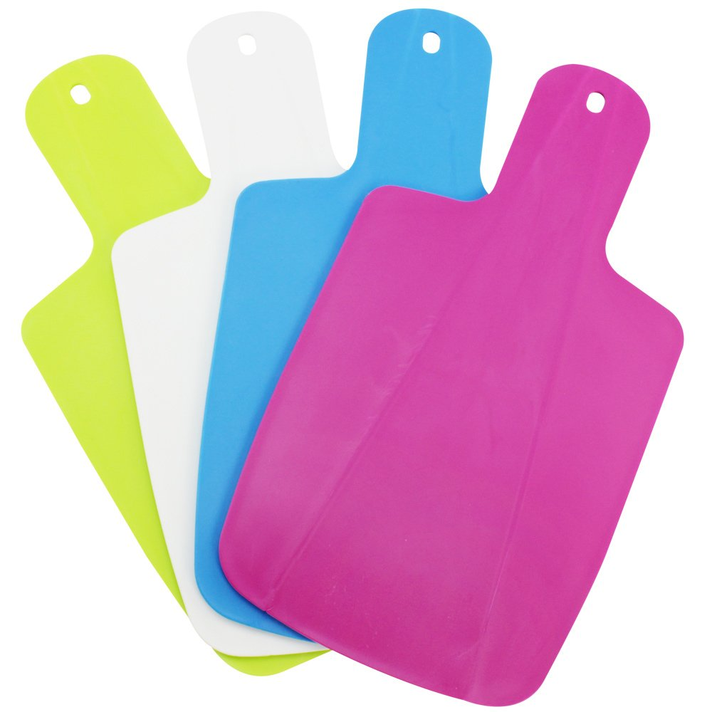 COM-FOUR® 4x Chopping Boards, 30 x 17 cm, Foldable - Available in Various Colours with Straining Function 30 x 17 cm