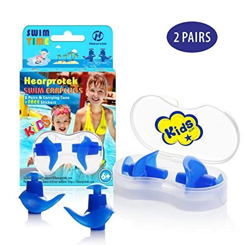 Hearprotek Swimming Ear Plugs, 2 Pairs Waterproof Reusable Silicone Ear Plugs for Swimmers Showering Bathing Surfing and Other Water Sports Kids Size (Blue)