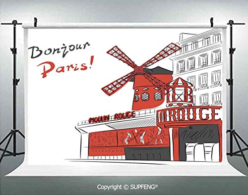 - Photography Background Sketch Art of Urban Landscape with Cabaret Moulin Rouge in Paris Modern City Decorative 3D Backdrops for Photography Backdrop Photo Background Studio Prop