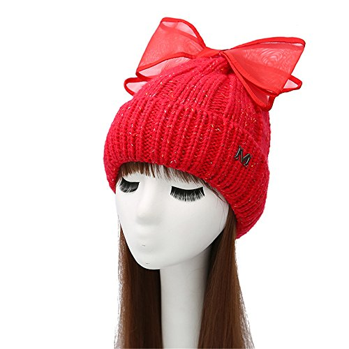 TTjII-XY Beret Hat big bow knot Chunky Soft Knit Slouchy Knitted Cap Beret Beanie Winter Hat Lightweight Casual Classic Greek Fisherman Knit Hat Wool Snow Ski Caps (Red Brush Cotton Hat)