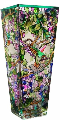 Amia 10-Inch Tall Hand-Painted Glass Vase Featuring Hummingbirds and Wisterias - Painted Glass Vase