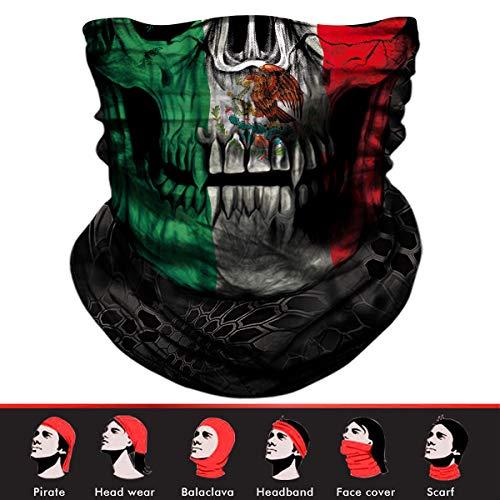 Skull Face Mask, 3D Tube Mask Seamless Durable Face Mask Bandana Skeleton Face Mask for Motorcycle Fishing Cycling