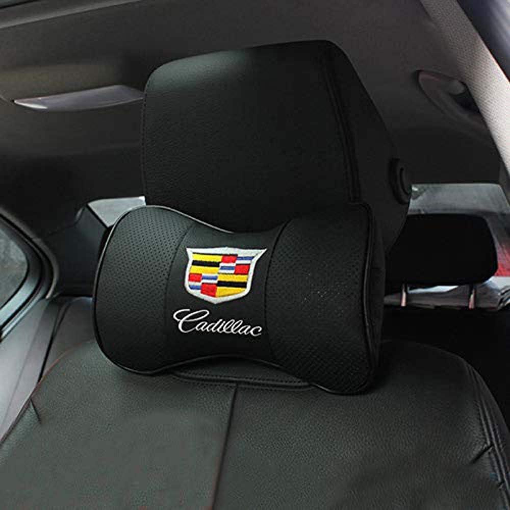 2* Carbon Fiber Car Rest Cushion Seat Headrest Neck Pillow For Cadillac