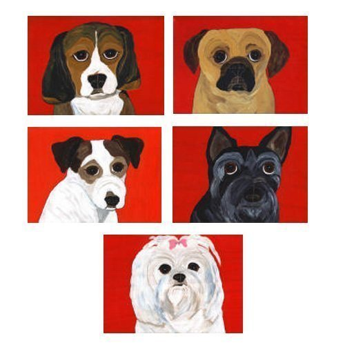 Maltese Russell Jack (Beagle, Puggle, Jack Russell, Scottie, Maltese Note Cards - Set of 10 - Mix and Match)