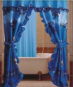 remarkable ocean bathroom sets | Amazon.com: Dolphin Ocean Sea Life Double Swag with ...