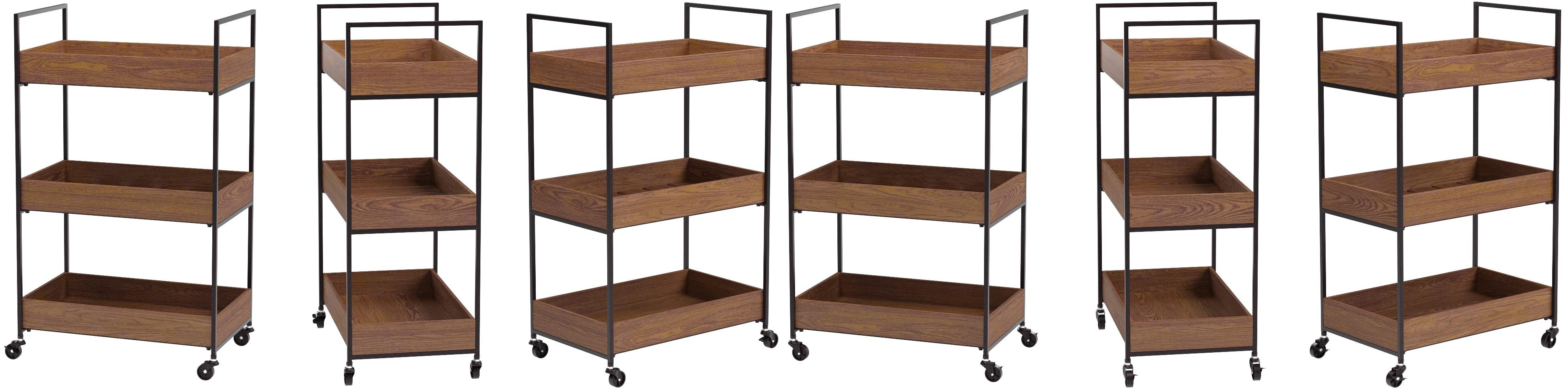 RiteSune Industrial Kitchen Bar Cart with 3-Tier Wood Shelves on Wheels Wine Cart for Home Kitchen Club Rustic Brown