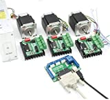 3 Axis Controller Kit Nema23 270oz-in CNC Stepper Motor (Dual Shaft) 76mm 3A & TB6560 Driver+350W 24V power supply for CNC Router