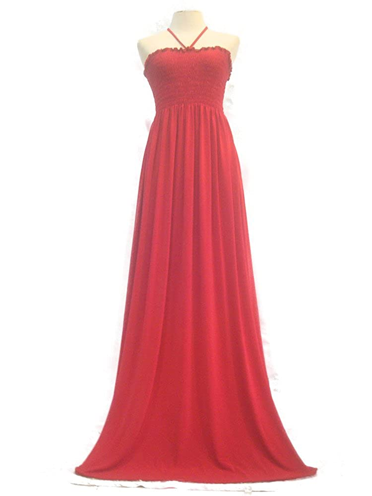 The Sisters Womens Red Smocked Halter Long Maxi Dress XL 2X 3X
