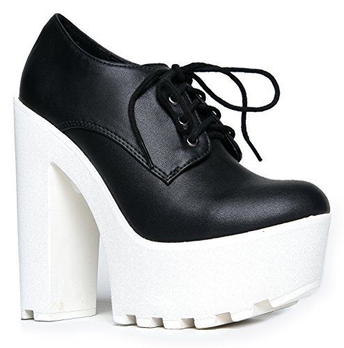 Soda Platform Chunky Ankle Bootie - Gorgeous Lace up Closed Lug Sole Boot - Comfortable High Heel Walking Shoe Black White