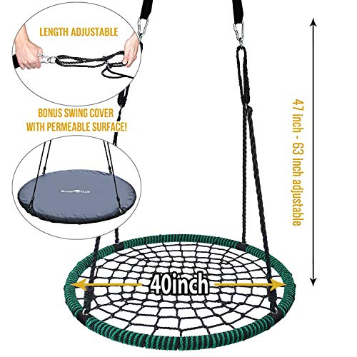 Royal Oak Giant 40'' Spider Web Tree Swing, 600 lb Weight Capacity, Durable Steel Frame, Waterproof, Adjustable Ropes, Bonus Flag Set and 2 Carabiners, Non-Stop Fun for Kids! by Royal Oak (Image #1)