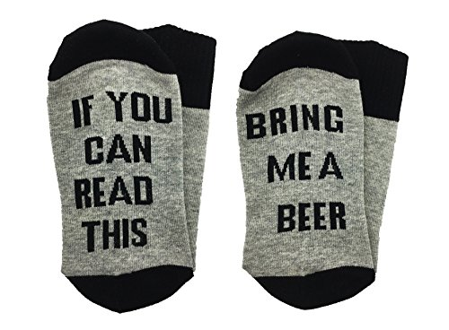ALNDA Christmas IF You Can Red This PLEASE Bring Me A Glass Of Wine Beer Coffee Unisex Socks (Grey and Black)