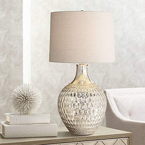 (Waylon Modern Table Lamp Textured Mercury Glass Off White Tapered Drum Shade for Living Room Family Bedroom Bedside Office - 360)