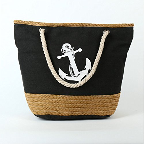 Bag Canvas Rope Bag Anchor Shopping B134 Strips Bag Black Weave Travel Tote Straw Beach AqpqPw54