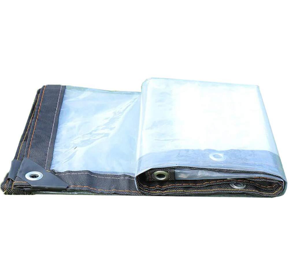 HRFHLHY Tissu Anti-Pluie Bord épaissi perforé Transparent en Tissu imperméable en Plastique imperméable à l'eau, Couverture de Protection de Fleur de Balcon de fenêtre,2x3m