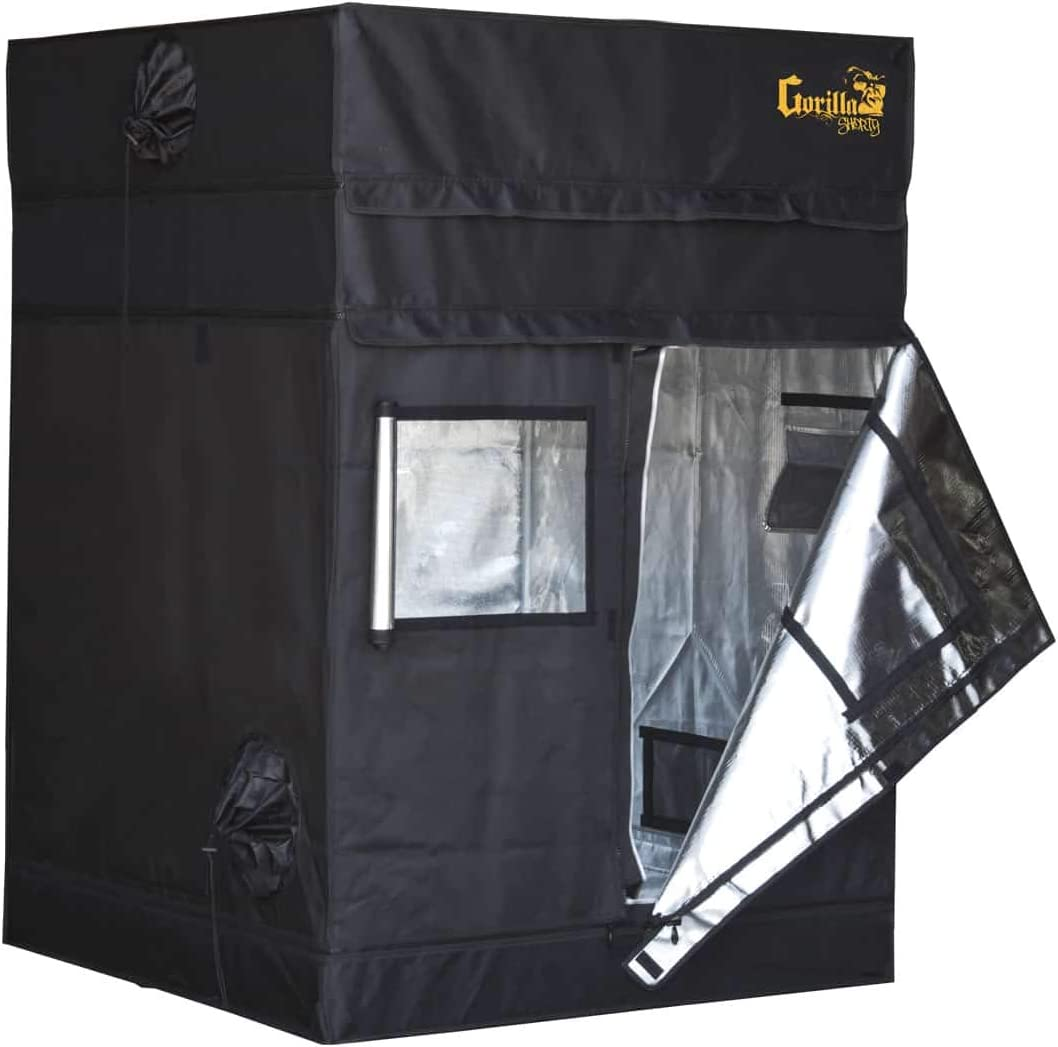 Gorilla Grow Tent Shorty | Complete Heavy-Duty 1680D Reflective Hydroponic 4-Foot by 4-Foot Grow Tent for Growing Indoor Plants with 9-Inch Height Extension Kit, Windows, Floor Tray