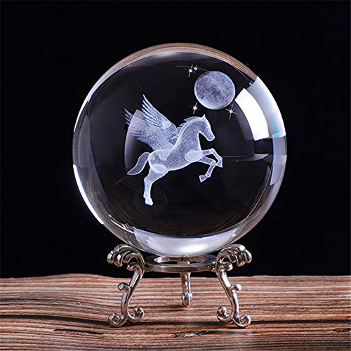 qianyue 80mm 3D Laser Engraved Miniature Pegasus Crystal Ball Crystal Field Craft Glass Home Decoration Ornament Birthday Gift (Crystal Pegasus)