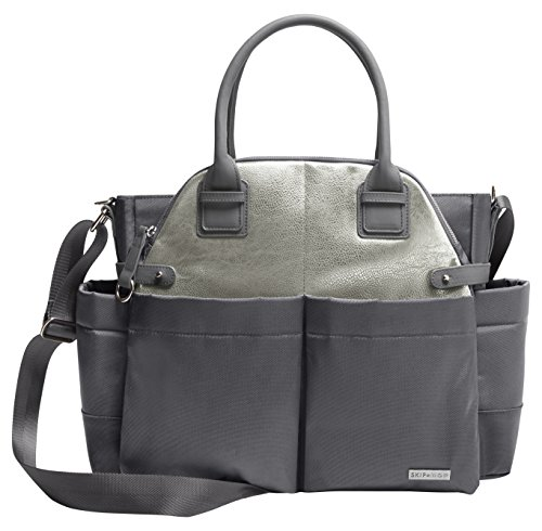 Skip Hop Chelsea Downtown Chic Diaper Satchel, Charcoal Shimmer/Grey ()